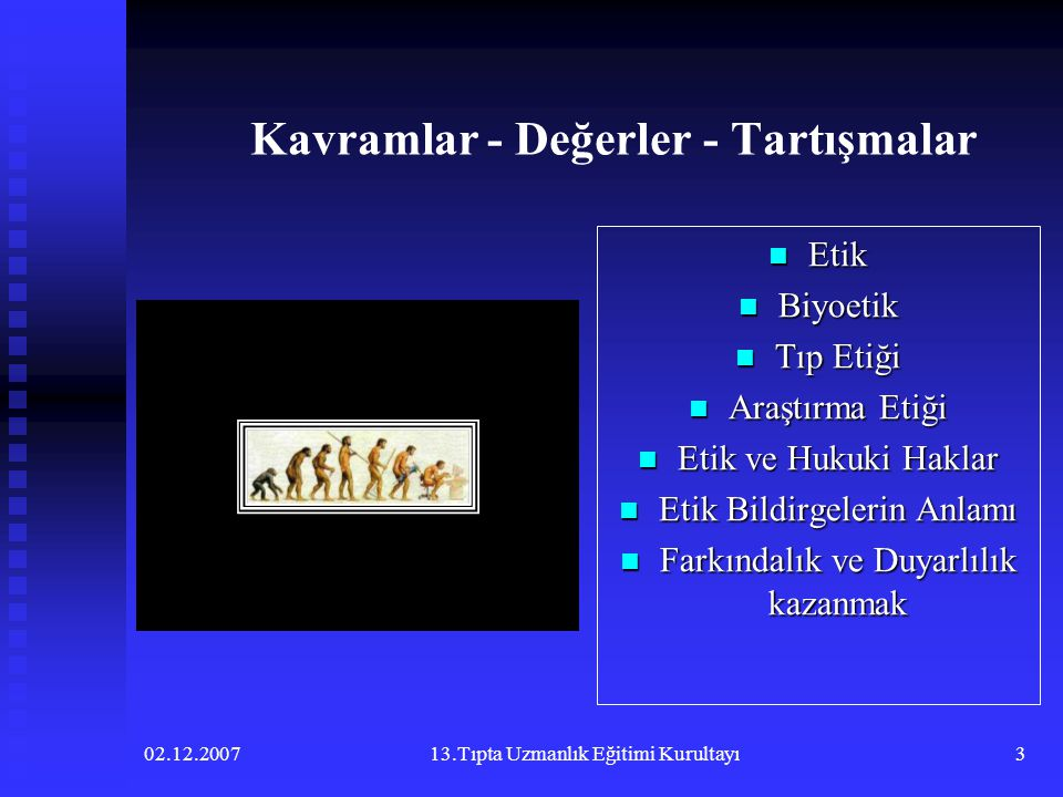 02.12.200713.Tıpta Uzmanlık Eğitimi Kurultayı3 Kavramlar - Değerler - Tartışmalar  Etik  Biyoetik  Tıp Etiği  Araştırma Etiği  Etik ve Hukuki Hak