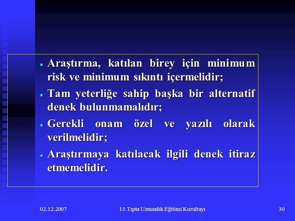 02.12.200713.Tıpta Uzmanlık Eğitimi Kurultayı30  Araştırma, katılan birey için minimum risk ve minimum sıkıntı içermelidir;  Tam yeterliğe sahip baş