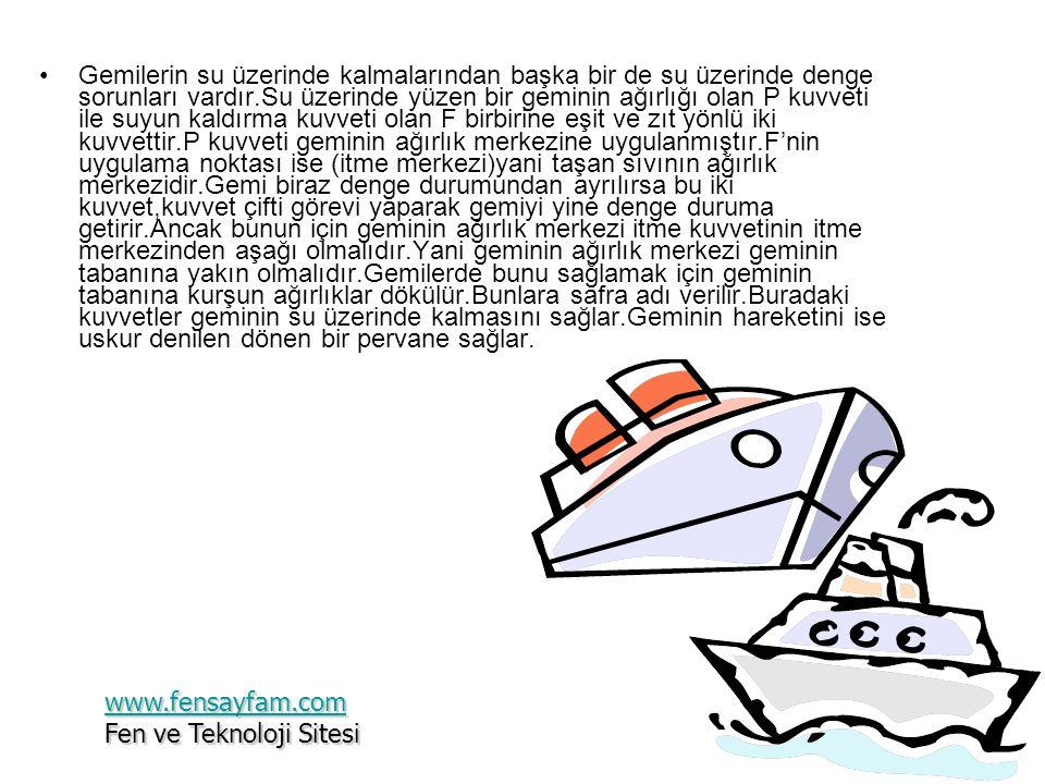 •Gemilerin su üzerinde kalmalarından başka bir de su üzerinde denge sorunları vardır.Su üzerinde yüzen bir geminin ağırlığı olan P kuvveti ile suyun kaldırma kuvveti olan F birbirine eşit ve zıt yönlü iki kuvvettir.P kuvveti geminin ağırlık merkezine uygulanmıştır.F'nin uygulama noktası ise (itme merkezi)yani taşan sıvının ağırlık merkezidir.Gemi biraz denge durumundan ayrılırsa bu iki kuvvet,kuvvet çifti görevi yaparak gemiyi yine denge duruma getirir.Ancak bunun için geminin ağırlık merkezi itme kuvvetinin itme merkezinden aşağı olmalıdır.Yani geminin ağırlık merkezi geminin tabanına yakın olmalıdır.Gemilerde bunu sağlamak için geminin tabanına kurşun ağırlıklar dökülür.Bunlara safra adı verilir.Buradaki kuvvetler geminin su üzerinde kalmasını sağlar.Geminin hareketini ise uskur denilen dönen bir pervane sağlar.