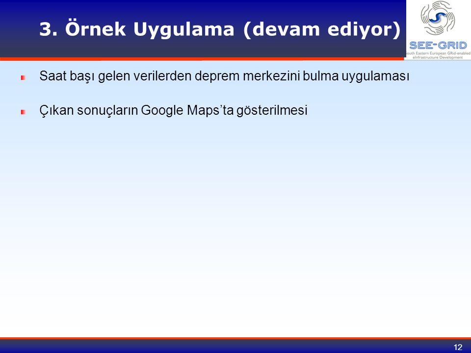 12 3. Örnek Uygulama (devam ediyor) Saat başı gelen verilerden deprem merkezini bulma uygulaması Çıkan sonuçların Google Maps'ta gösterilmesi