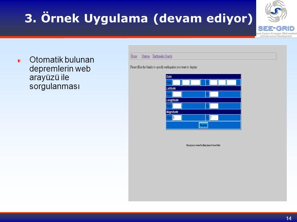 14 3. Örnek Uygulama (devam ediyor) Otomatik bulunan depremlerin web arayüzü ile sorgulanması