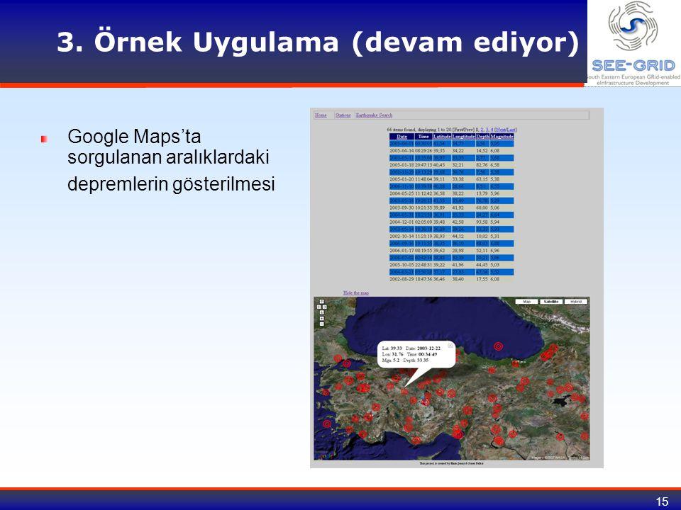 15 3. Örnek Uygulama (devam ediyor) Google Maps'ta sorgulanan aralıklardaki depremlerin gösterilmesi