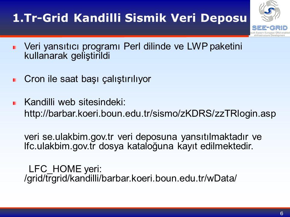 6 1.Tr-Grid Kandilli Sismik Veri Deposu Veri yansıtıcı programı Perl dilinde ve LWP paketini kullanarak geliştirildi Cron ile saat başı çalıştırılıyor