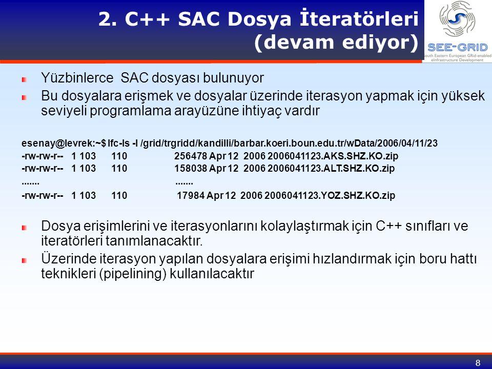 8 2. C++ SAC Dosya İteratörleri (devam ediyor) Yüzbinlerce SAC dosyası bulunuyor Bu dosyalara erişmek ve dosyalar üzerinde iterasyon yapmak için yükse