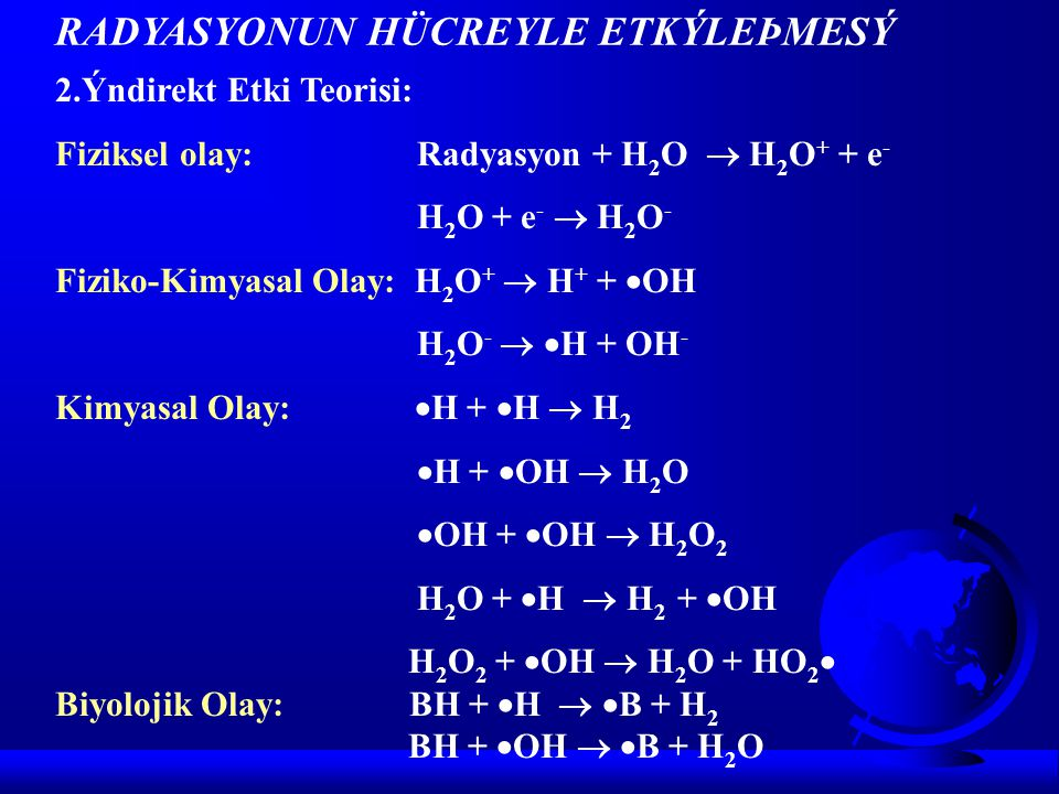 2.Ýndirekt Etki Teorisi: Fiziksel olay: Radyasyon + H 2 O  H 2 O + + e - H 2 O + e -  H 2 O - Fiziko-Kimyasal Olay: H 2 O +  H + +  OH H 2 O -   H + OH - Kimyasal Olay:  H +  H  H 2  H +  OH  H 2 O  OH +  OH  H 2 O 2 H 2 O +  H  H 2 +  OH H 2 O 2 +  OH  H 2 O + HO 2  Biyolojik Olay: BH +  H   B + H 2 BH +  OH   B + H 2 O RADYASYONUN HÜCREYLE ETKÝLEÞMESÝ