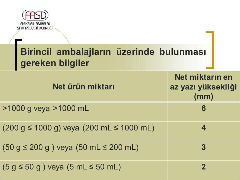 Birincil ambalajların üzerinde bulunması gereken bilgiler Net ürün miktarı Net miktarın en az yazı yüksekliği (mm) >1000 g veya >1000 mL6 (200 g ≤ 100