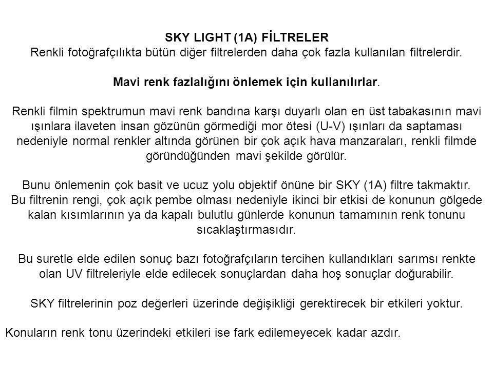 SKY LIGHT (1A) FİLTRELER Renkli fotoğrafçılıkta bütün diğer filtrelerden daha çok fazla kullanılan filtrelerdir. Mavi renk fazlalığını önlemek için ku