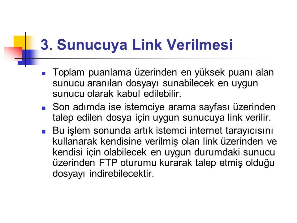 3. Sunucuya Link Verilmesi  Toplam puanlama üzerinden en yüksek puanı alan sunucu aranılan dosyayı sunabilecek en uygun sunucu olarak kabul edilebili