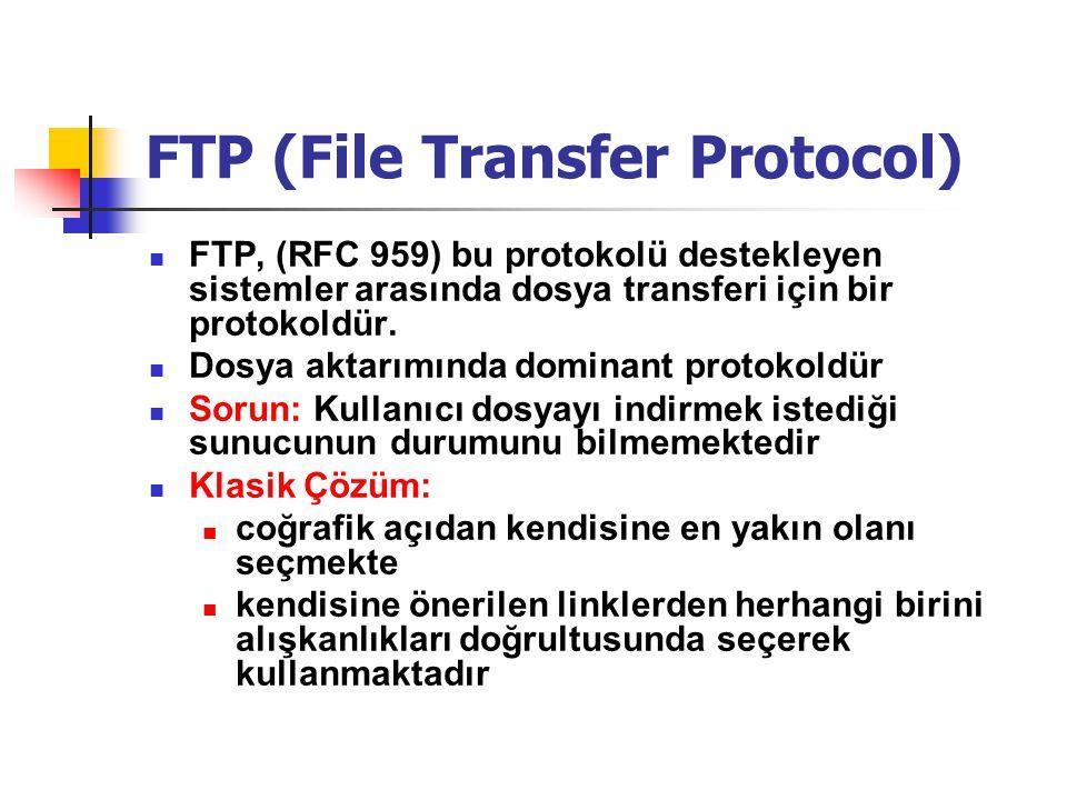 YAPILAN ÇALIŞMANIN AMACI  Bu çalışmada bir sistem içerisinde yer alan FTP sunucuları üzerinde bulunan dosyalar için arama yapılması ve bulunan dosyaları üzerinde barındıran sunucular içerisinde dosyayı indirmek için en uygun sunucunun kullanıcıya tavsiye edilmesi amaçlanmıştır.