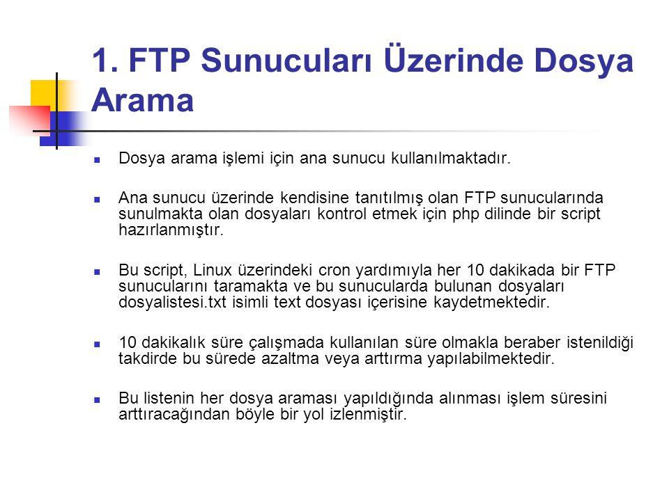 1.FTP Sunucuları Üzerinde Dosya Arama  Dosya arama işlemi için ana sunucu kullanılmaktadır.