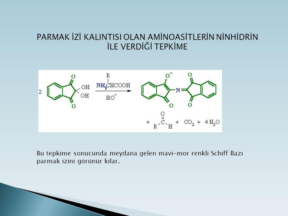 4.DFO (1, 8-diazafluoren-9-one):  DFO bir ninhidrin analoğudur.