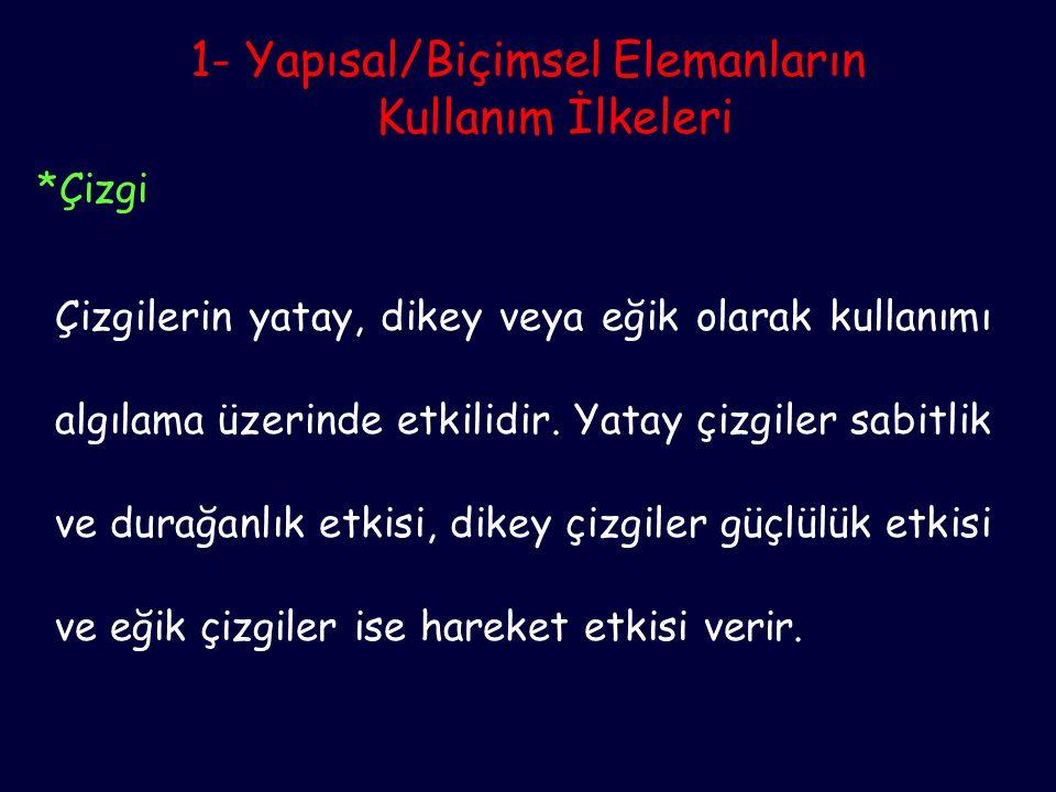 2- Yerleşim Elemanlarının Kullanım İlkeleri *Oran-ölçek Objelerin büyüklüğü ile bağlantılıdır.