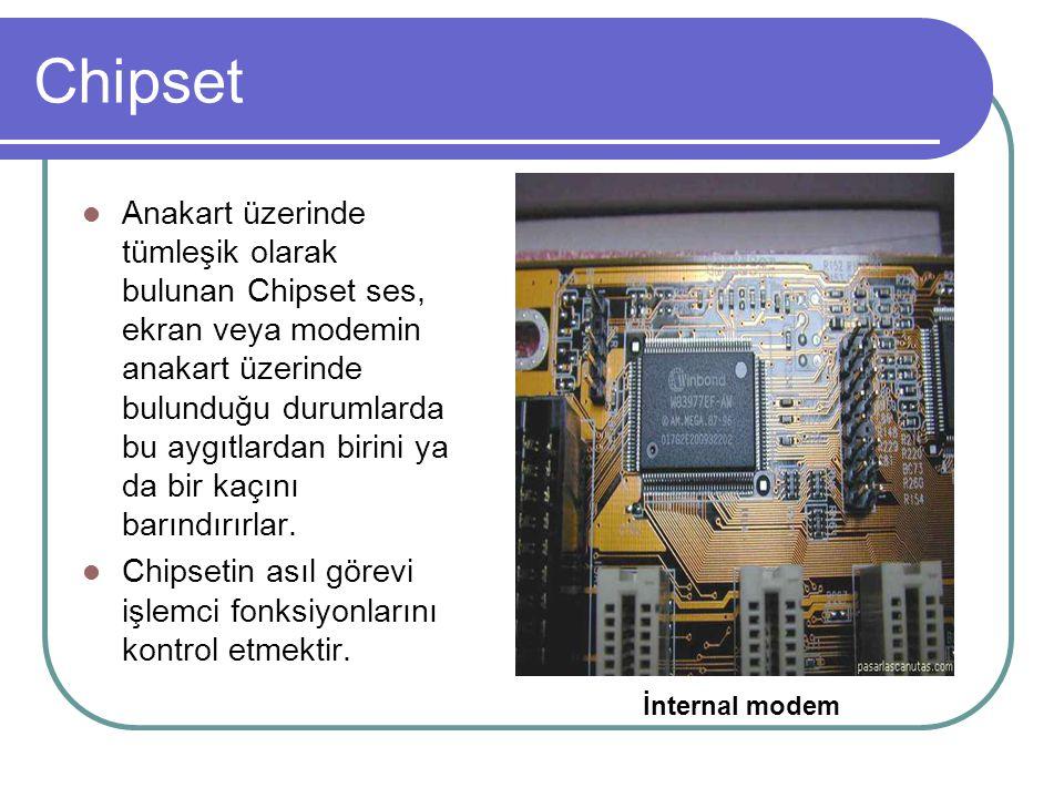 Chipset  Anakart üzerinde tümleşik olarak bulunan Chipset ses, ekran veya modemin anakart üzerinde bulunduğu durumlarda bu aygıtlardan birini ya da b