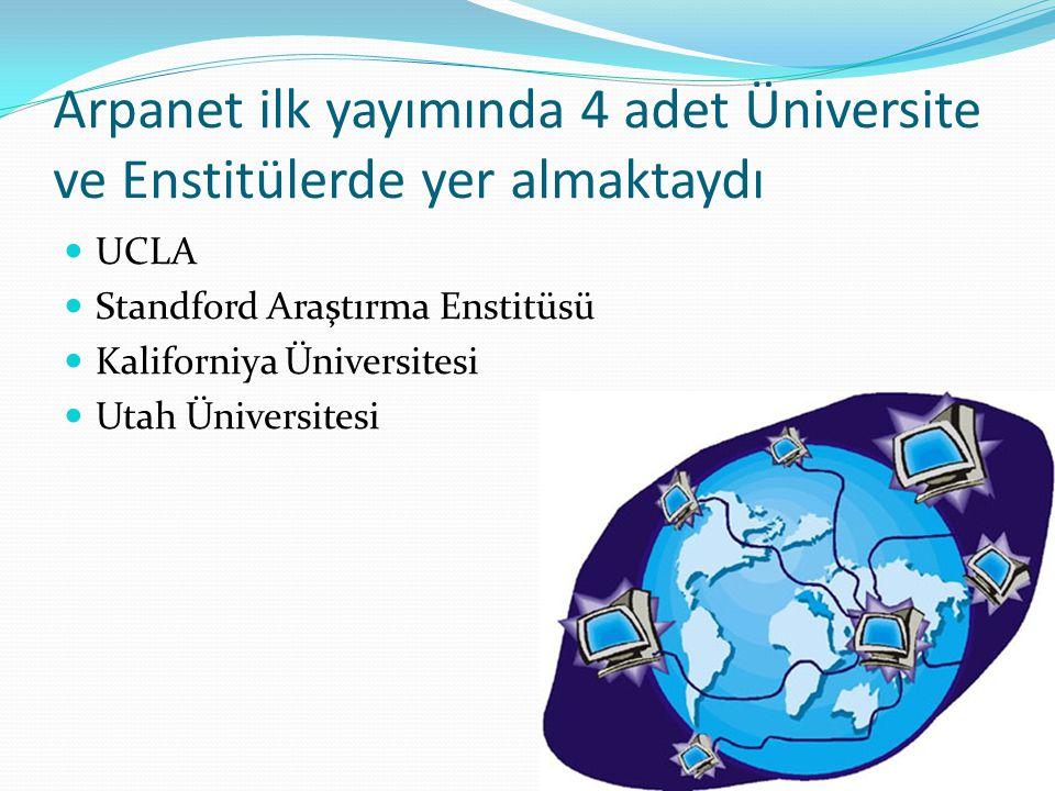 Arpanet ilk yayımında 4 adet Üniversite ve Enstitülerde yer almaktaydı  UCLA  Standford Araştırma Enstitüsü  Kaliforniya Üniversitesi  Utah Üniver