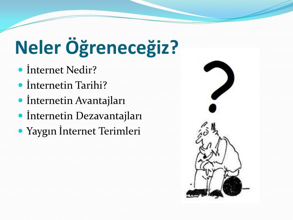 Neler Öğreneceğiz?  İnternet Nedir?  İnternetin Tarihi?  İnternetin Avantajları  İnternetin Dezavantajları  Yaygın İnternet Terimleri