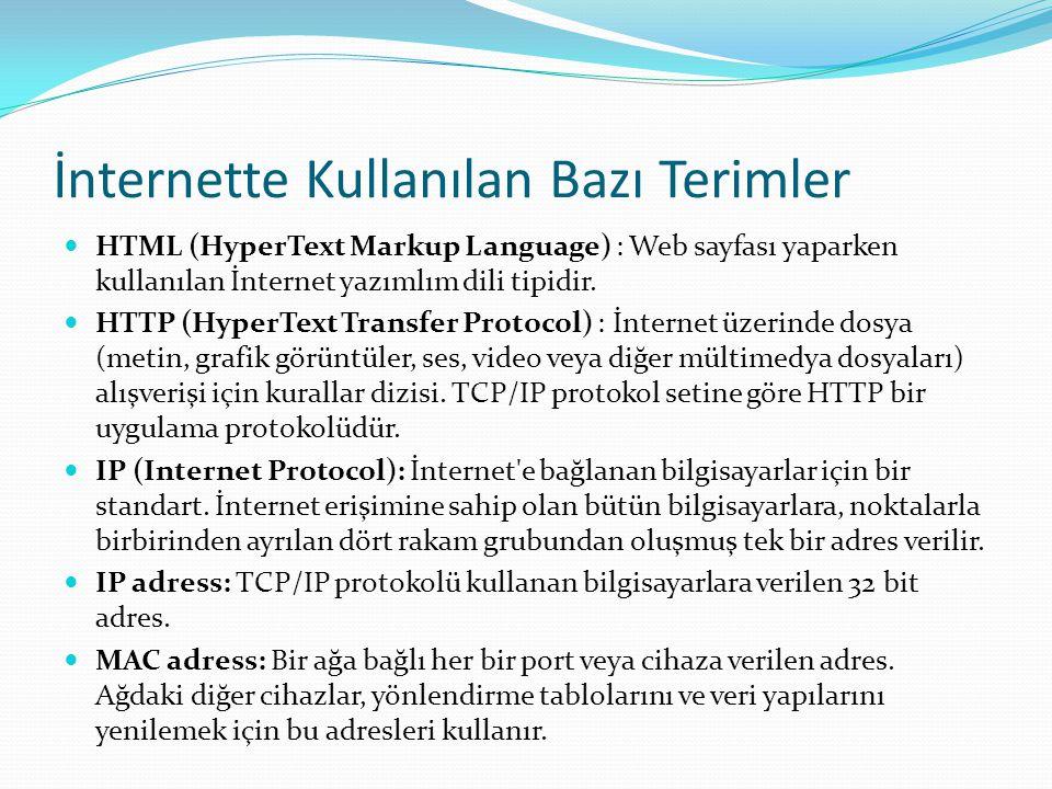 İnternette Kullanılan Bazı Terimler  HTML (HyperText Markup Language) : Web sayfası yaparken kullanılan İnternet yazımlım dili tipidir.  HTTP (Hyper