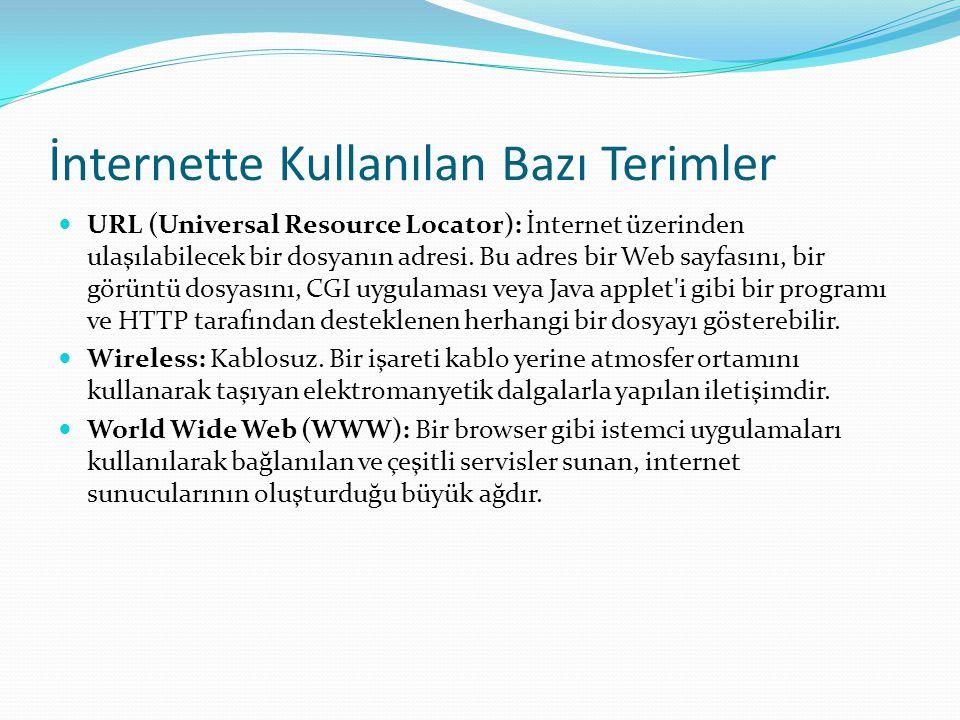 İnternette Kullanılan Bazı Terimler  URL (Universal Resource Locator): İnternet üzerinden ulaşılabilecek bir dosyanın adresi. Bu adres bir Web sayfas