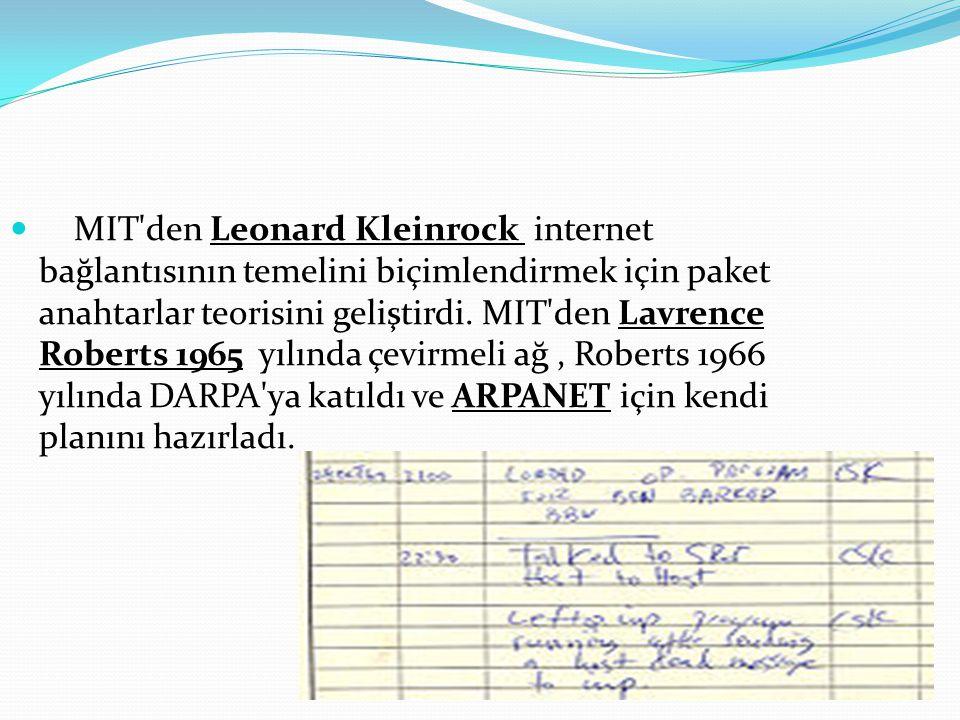  MIT'den Leonard Kleinrock internet bağlantısının temelini biçimlendirmek için paket anahtarlar teorisini geliştirdi. MIT'den Lavrence Roberts 1965 y