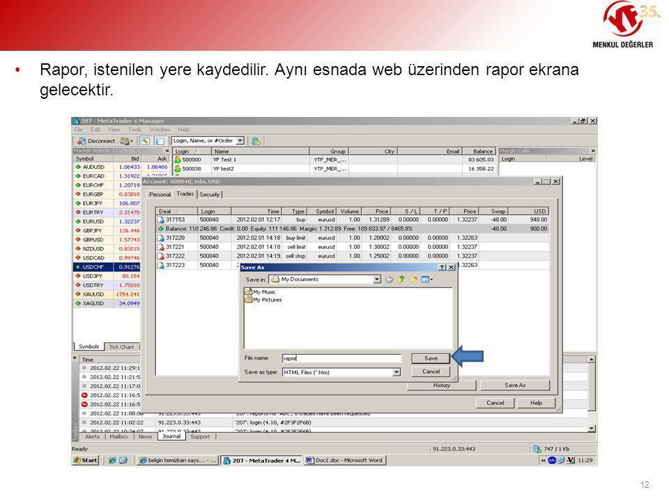 •Rapor, istenilen yere kaydedilir. Aynı esnada web üzerinden rapor ekrana gelecektir. 12