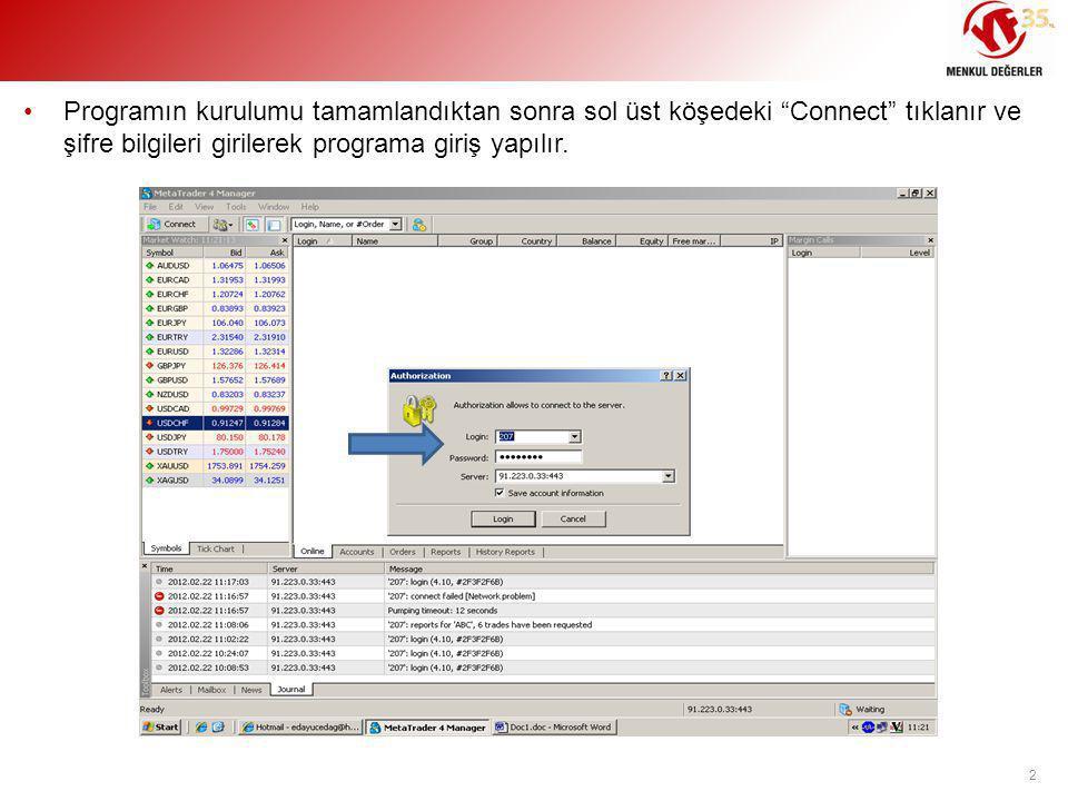 """•Programın kurulumu tamamlandıktan sonra sol üst köşedeki """"Connect"""" tıklanır ve şifre bilgileri girilerek programa giriş yapılır. 2"""