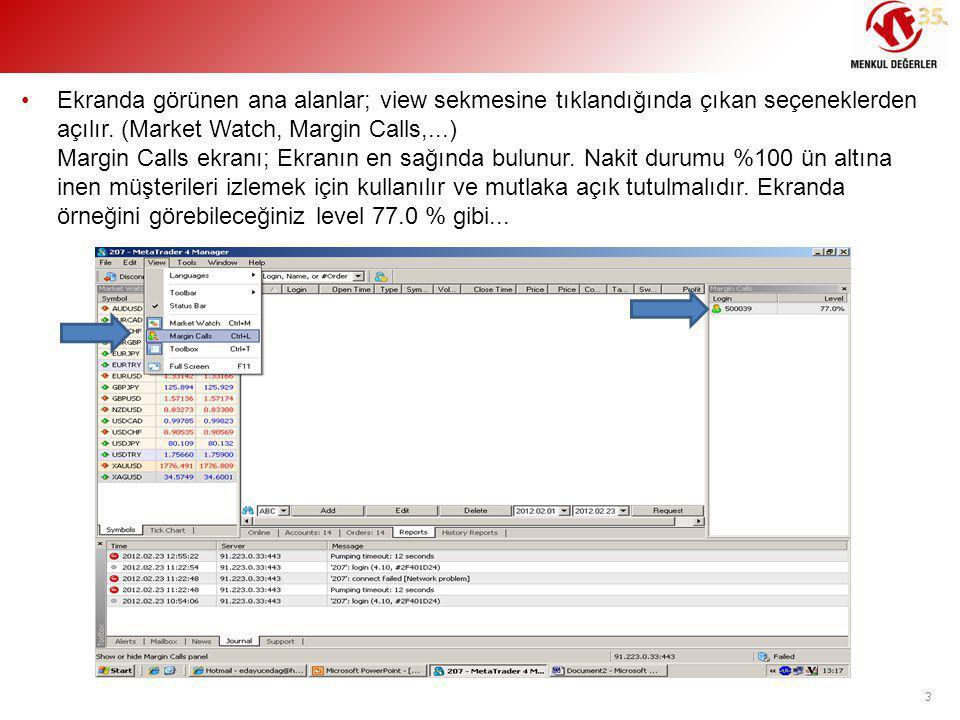 •Ekranda görünen ana alanlar; view sekmesine tıklandığında çıkan seçeneklerden açılır. (Market Watch, Margin Calls,...) Margin Calls ekranı; Ekranın e