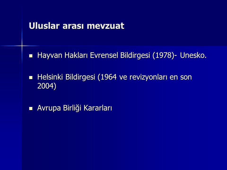Uluslar arası mevzuat  Hayvan Hakları Evrensel Bildirgesi (1978)- Unesko.  Helsinki Bildirgesi (1964 ve revizyonları en son 2004)  Avrupa Birliği K