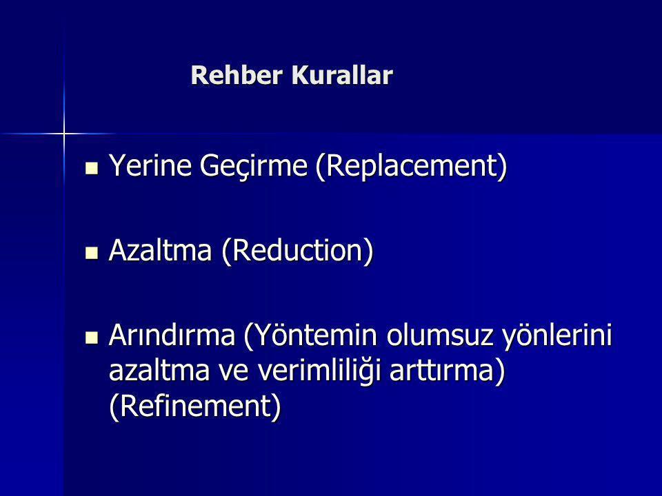 Rehber Kurallar Rehber Kurallar  Yerine Geçirme (Replacement)  Azaltma (Reduction)  Arındırma (Yöntemin olumsuz yönlerini azaltma ve verimliliği ar