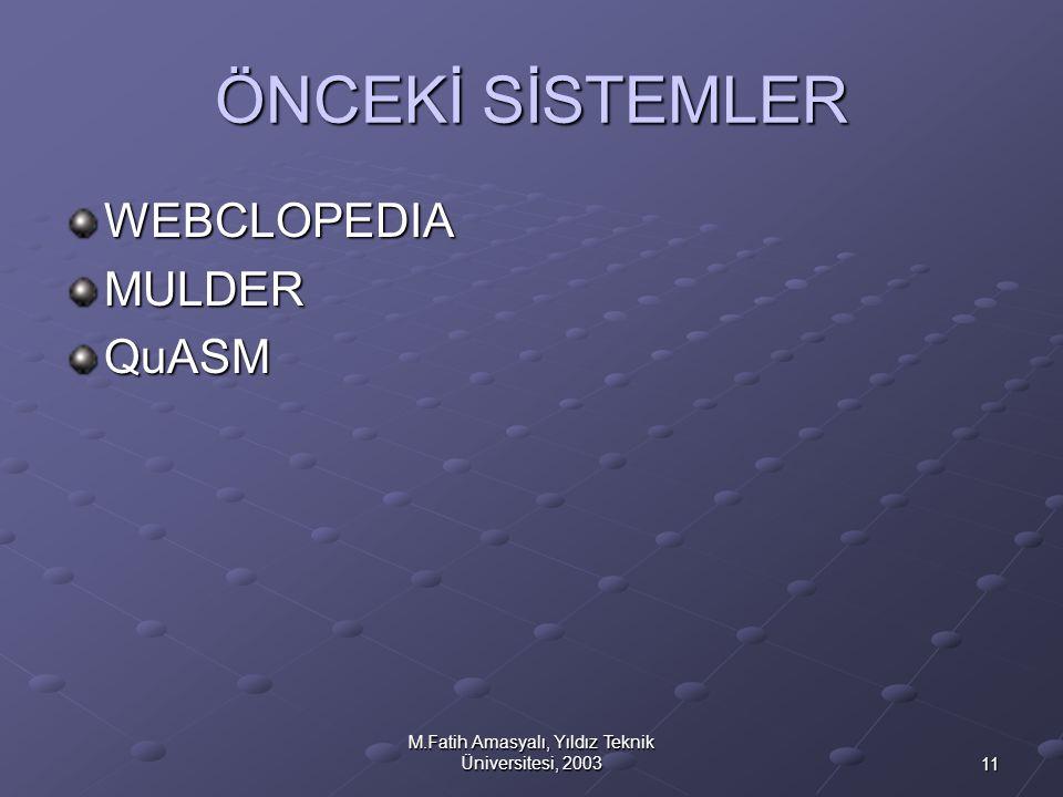 11 M.Fatih Amasyalı, Yıldız Teknik Üniversitesi, 2003 ÖNCEKİ SİSTEMLER WEBCLOPEDIAMULDERQuASM