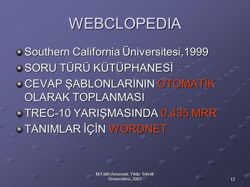 12 M.Fatih Amasyalı, Yıldız Teknik Üniversitesi, 2003 WEBCLOPEDIA Southern California Üniversitesi,1999 SORU TÜRÜ KÜTÜPHANESİ CEVAP ŞABLONLARININ OTOM