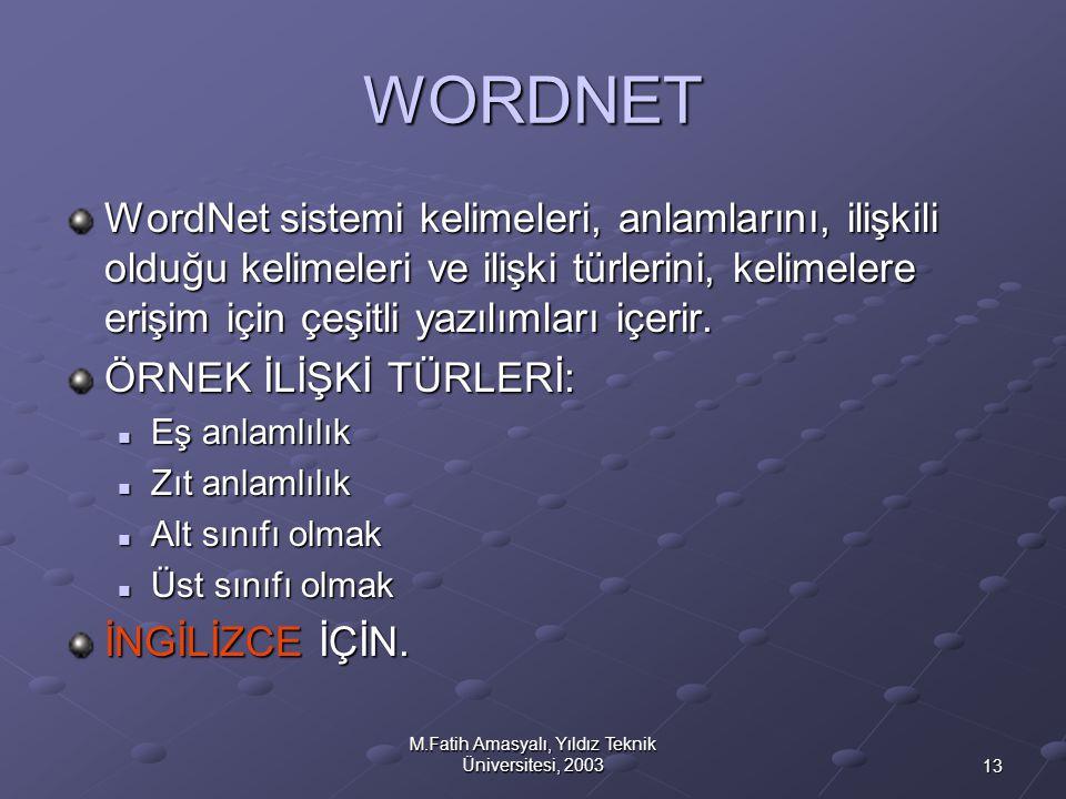 13 M.Fatih Amasyalı, Yıldız Teknik Üniversitesi, 2003 WORDNET WordNet sistemi kelimeleri, anlamlarını, ilişkili olduğu kelimeleri ve ilişki türlerini,