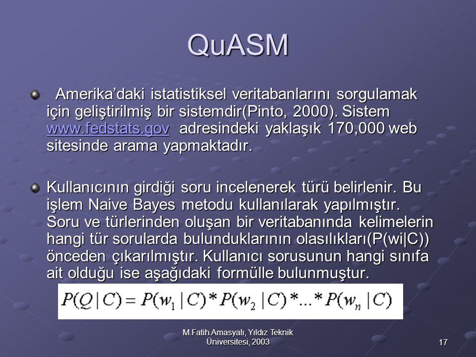 17 M.Fatih Amasyalı, Yıldız Teknik Üniversitesi, 2003 QuASM Amerika'daki istatistiksel veritabanlarını sorgulamak için geliştirilmiş bir sistemdir(Pin