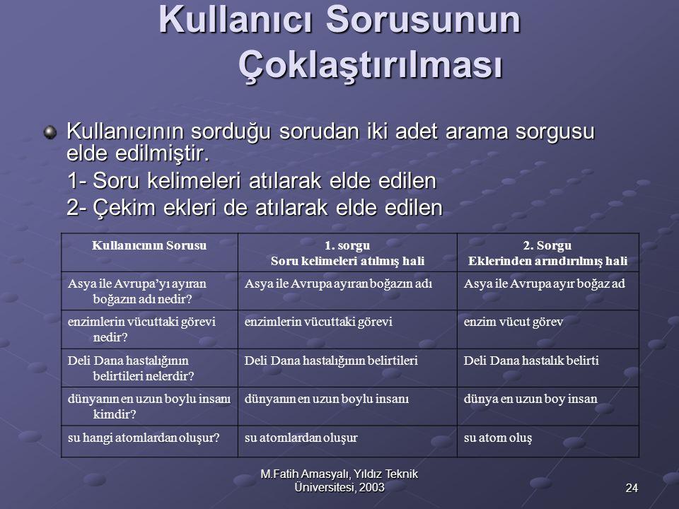 24 M.Fatih Amasyalı, Yıldız Teknik Üniversitesi, 2003 Kullanıcı Sorusunun Çoklaştırılması Kullanıcının sorduğu sorudan iki adet arama sorgusu elde edi