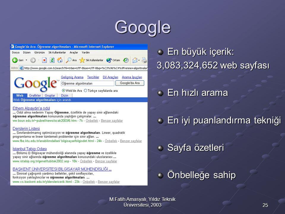 25 M.Fatih Amasyalı, Yıldız Teknik Üniversitesi, 2003 Google En büyük içerik: 3,083,324,652 web sayfası En hızlı arama En iyi puanlandırma tekniği Say