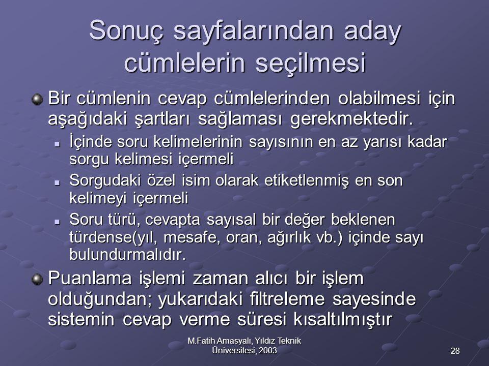 28 M.Fatih Amasyalı, Yıldız Teknik Üniversitesi, 2003 Sonuç sayfalarından aday cümlelerin seçilmesi Bir cümlenin cevap cümlelerinden olabilmesi için a