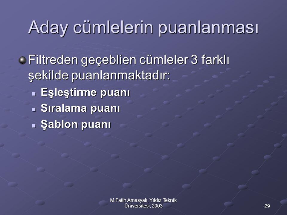 29 M.Fatih Amasyalı, Yıldız Teknik Üniversitesi, 2003 Aday cümlelerin puanlanması Filtreden geçeblien cümleler 3 farklı şekilde puanlanmaktadır:  Eşl