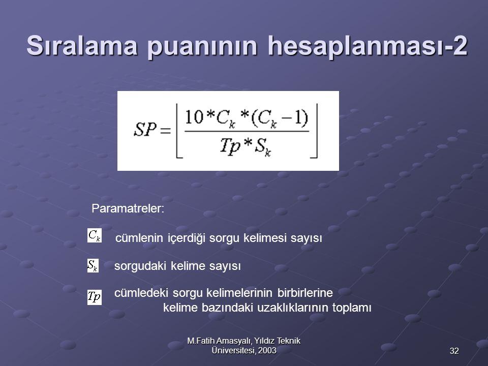 32 M.Fatih Amasyalı, Yıldız Teknik Üniversitesi, 2003 Sıralama puanının hesaplanması-2 cümlenin içerdiği sorgu kelimesi sayısı sorgudaki kelime sayısı
