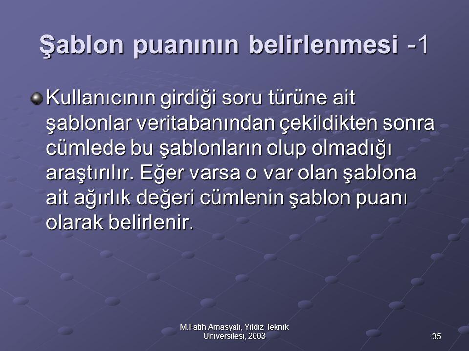 35 M.Fatih Amasyalı, Yıldız Teknik Üniversitesi, 2003 Şablon puanının belirlenmesi -1 Kullanıcının girdiği soru türüne ait şablonlar veritabanından çe