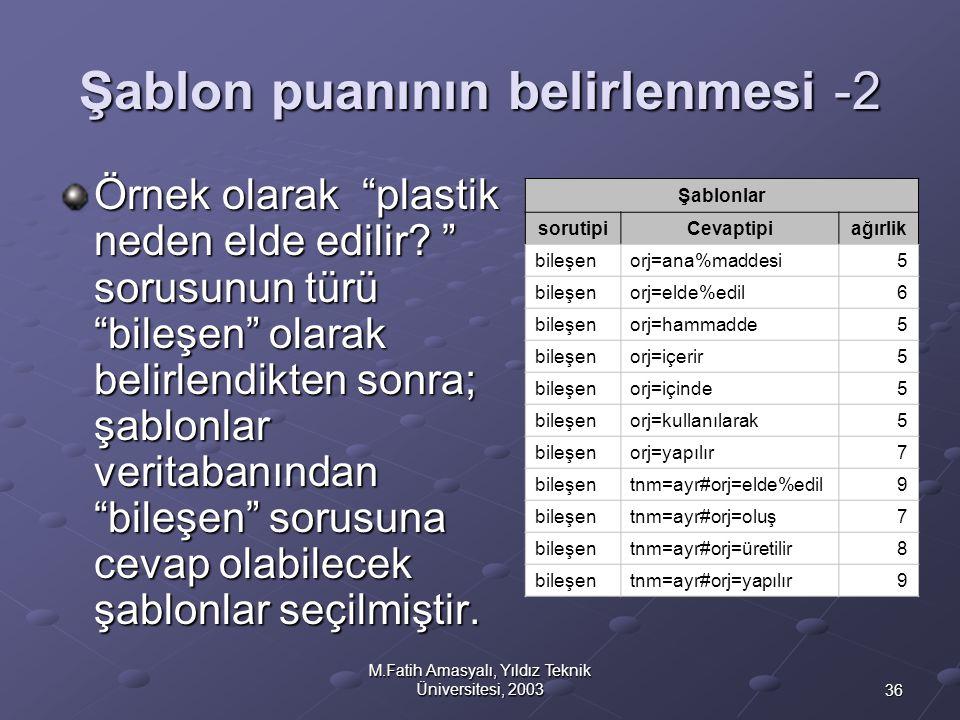 """36 M.Fatih Amasyalı, Yıldız Teknik Üniversitesi, 2003 Şablon puanının belirlenmesi -2 Örnek olarak """"plastik neden elde edilir? """" sorusunun türü """"bileş"""
