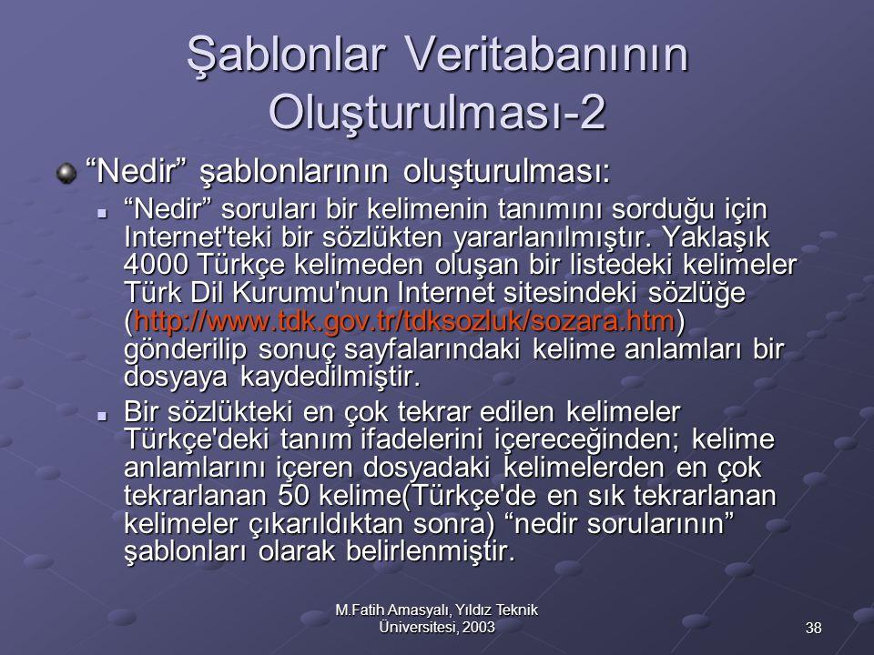"""38 M.Fatih Amasyalı, Yıldız Teknik Üniversitesi, 2003 Şablonlar Veritabanının Oluşturulması-2 """"Nedir"""" şablonlarının oluşturulması:  """"Nedir"""" soruları"""