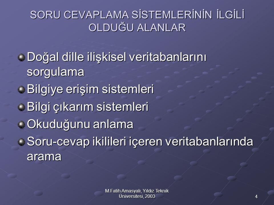 4 M.Fatih Amasyalı, Yıldız Teknik Üniversitesi, 2003 SORU CEVAPLAMA SİSTEMLERİNİN İLGİLİ OLDUĞU ALANLAR Doğal dille ilişkisel veritabanlarını sorgulam
