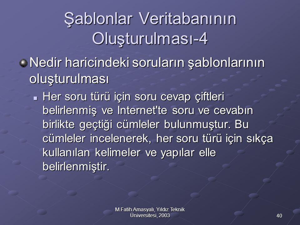 40 M.Fatih Amasyalı, Yıldız Teknik Üniversitesi, 2003 Şablonlar Veritabanının Oluşturulması-4 Nedir haricindeki soruların şablonlarının oluşturulması