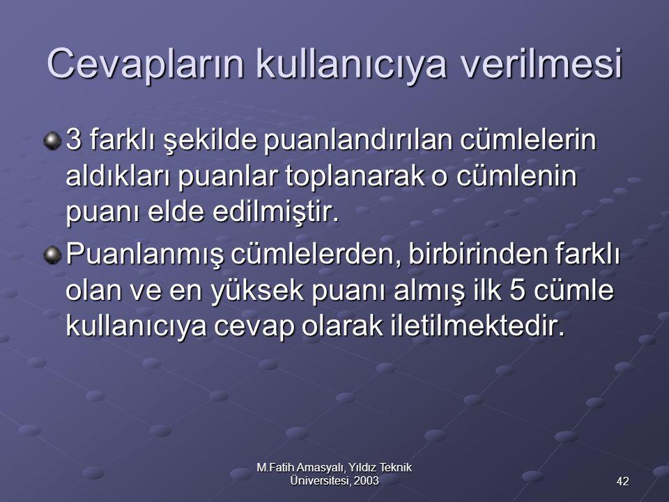 42 M.Fatih Amasyalı, Yıldız Teknik Üniversitesi, 2003 Cevapların kullanıcıya verilmesi 3 farklı şekilde puanlandırılan cümlelerin aldıkları puanlar to