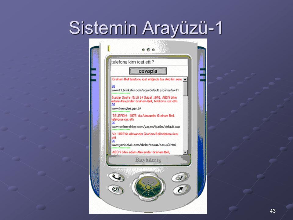 43 M.Fatih Amasyalı, Yıldız Teknik Üniversitesi, 2003 Sistemin Arayüzü-1