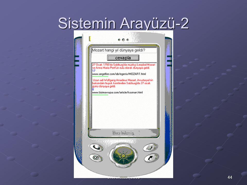 44 M.Fatih Amasyalı, Yıldız Teknik Üniversitesi, 2003 Sistemin Arayüzü-2