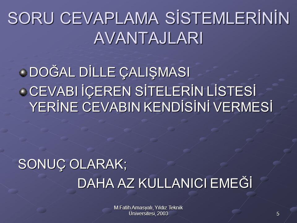 5 M.Fatih Amasyalı, Yıldız Teknik Üniversitesi, 2003 SORU CEVAPLAMA SİSTEMLERİNİN AVANTAJLARI DOĞAL DİLLE ÇALIŞMASI CEVABI İÇEREN SİTELERİN LİSTESİ YE
