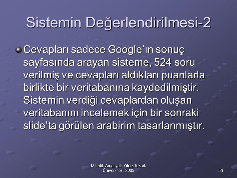 50 M.Fatih Amasyalı, Yıldız Teknik Üniversitesi, 2003 Sistemin Değerlendirilmesi-2 Cevapları sadece Google'ın sonuç sayfasında arayan sisteme, 524 sor