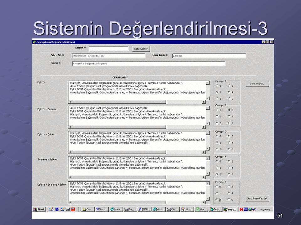 51 M.Fatih Amasyalı, Yıldız Teknik Üniversitesi, 2003 Sistemin Değerlendirilmesi-3