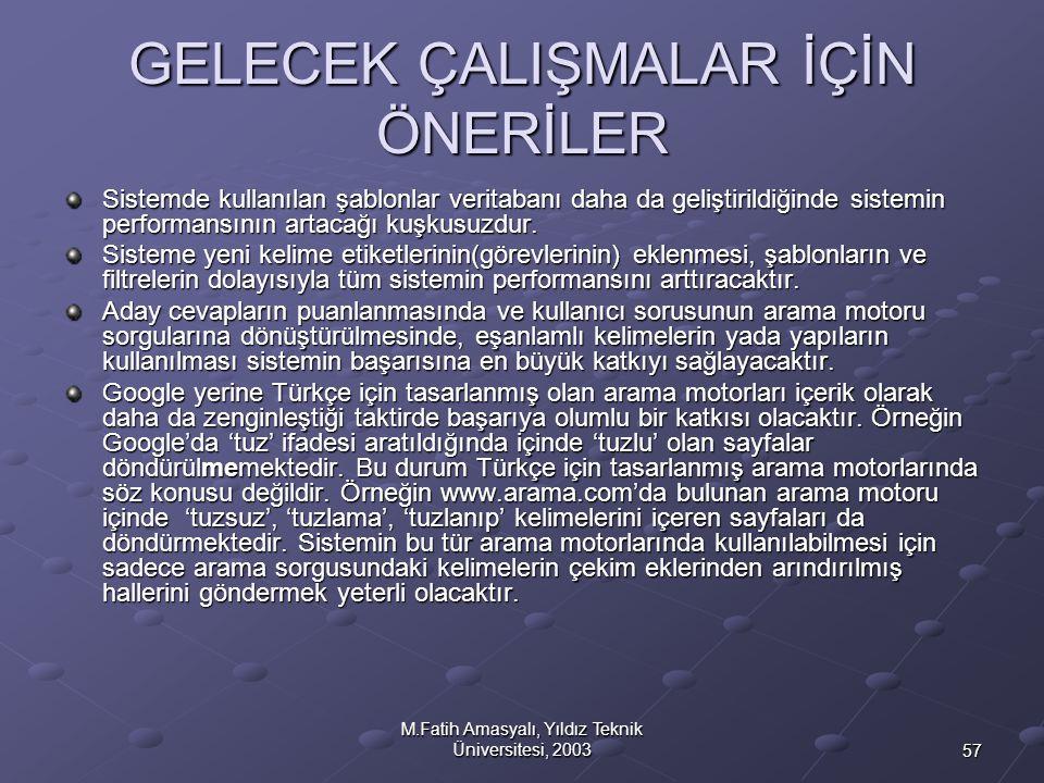 57 M.Fatih Amasyalı, Yıldız Teknik Üniversitesi, 2003 GELECEK ÇALIŞMALAR İÇİN ÖNERİLER Sistemde kullanılan şablonlar veritabanı daha da geliştirildiği