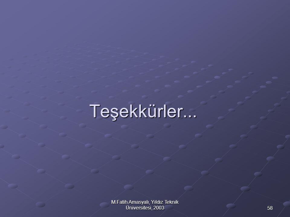 58 M.Fatih Amasyalı, Yıldız Teknik Üniversitesi, 2003 Teşekkürler...