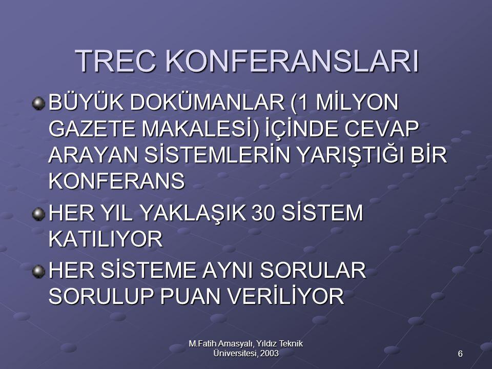 6 M.Fatih Amasyalı, Yıldız Teknik Üniversitesi, 2003 TREC KONFERANSLARI BÜYÜK DOKÜMANLAR (1 MİLYON GAZETE MAKALESİ) İÇİNDE CEVAP ARAYAN SİSTEMLERİN YA